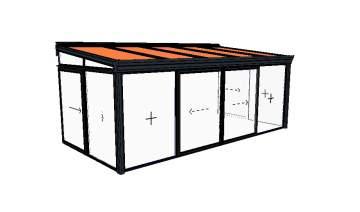 Véranda 1 pente 6228 x 3000 – 13 450€ posée